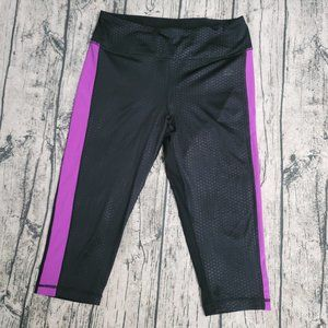 RBX Cropped Black Athleisure Legging Pink Stripe M